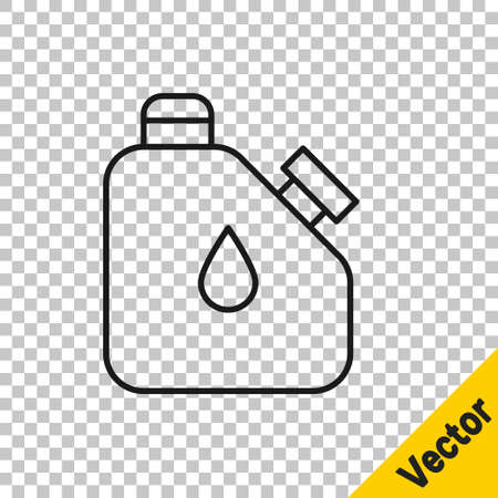 Black line Canister for flammable liquids icon isolated on transparent background. Oil or biofuel, explosive chemicals, dangerous substances. Vector Vettoriali