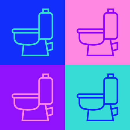 Pop art line Toilet bowl icon isolated on color background. Vector 向量圖像