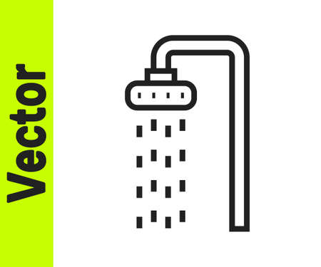 Black line Shower head with water drops flowing icon isolated on white background. Vector Vettoriali