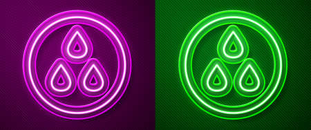 Glowing neon line Water drop icon isolated on purple and green background. Vector