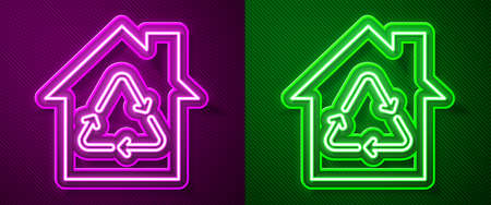 Glowing neon line Eco House with recycling symbol icon isolated on purple and green background. Ecology home with recycle arrows. Vector