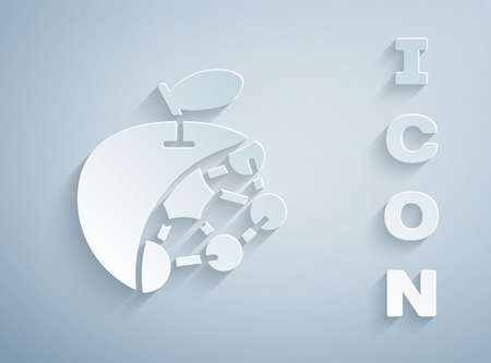 Paper cut Biological structure icon isolated on grey background. Genetically modified organism and food. Paper art style. Vector 向量圖像