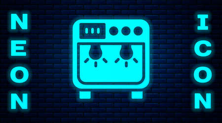 Glowing neon Biosafety box icon isolated on brick wall background. Vector