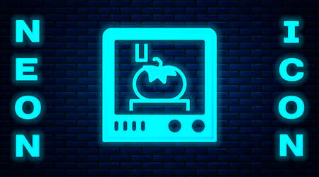 Glowing neon 3D printing technology icon isolated on brick wall background. Vector 矢量图像