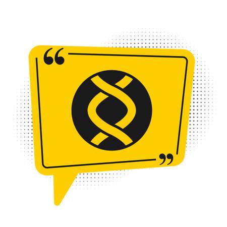 Black DNA symbol icon isolated on white background. Genetic engineering, genetics testing, cloning, paternity testing. Yellow speech bubble symbol. Vector