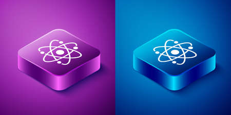 Isometric Atom icon isolated on blue and purple background. Symbol of science, education, nuclear physics, scientific research. Square button. Vector 矢量图像