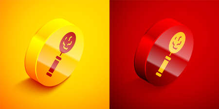 Isometric Microorganisms under magnifier icon isolated on orange and red background. Bacteria and germs, cell cancer, microbe, virus, fungi. Circle button. Vector 矢量图像