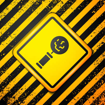 Black Microorganisms under magnifier icon isolated on yellow background. Bacteria and germs, cell cancer, microbe, virus, fungi. Warning sign. Vector