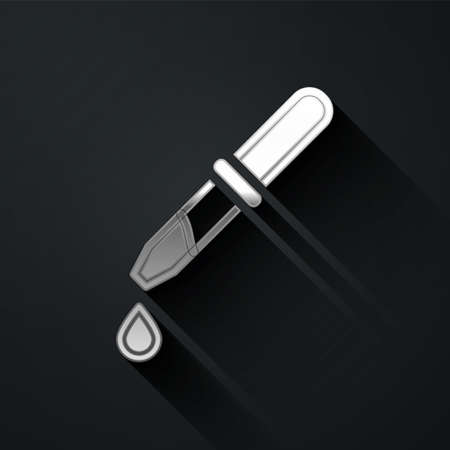 Silver Pipette icon isolated on black background. Element of medical, chemistry lab equipment. Pipette with drop. Medicine symbol. Long shadow style. Vector 向量圖像