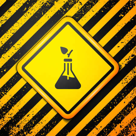 Black Plant breeding icon isolated on yellow background. Plants growing in the test tubes. Organic food ,agriculture and hydroponic. Warning sign. Vector Çizim