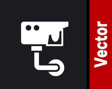 White Security camera icon isolated on black background. Vector Çizim