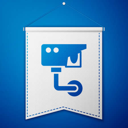 Blue Security camera icon isolated on blue background. White pennant template. Vector Stok Fotoğraf - 157388139