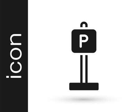 Black Parking icon isolated on white background. Street road sign. Vector