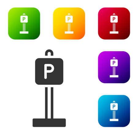 Black Parking icon isolated on white background. Street road sign. Set icons in color square buttons. Vector
