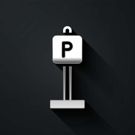 Silver Parking icon isolated on black background. Street road sign. Long shadow style. Vector 矢量图像