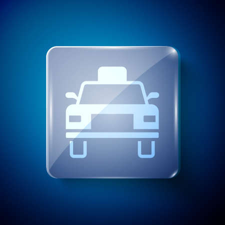 White Taxi car icon isolated on blue background. Square glass panels. Vector