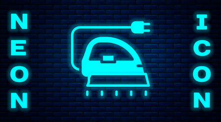 Glowing neon Electric iron icon isolated on brick wall background. Steam iron. Vector