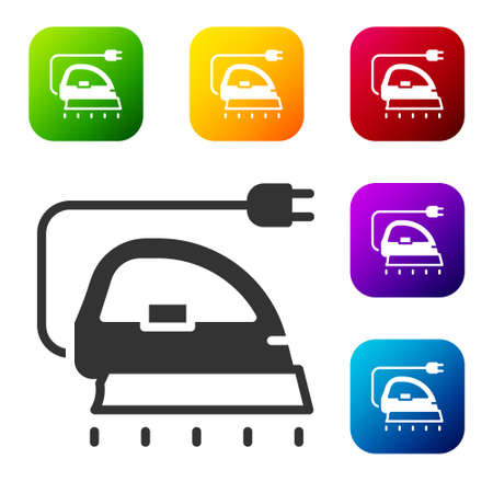 Black Electric iron icon isolated on white background. Steam iron. Set icons in color square buttons. Vector