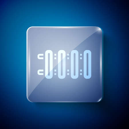 White Heating radiator icon isolated on blue background. Square glass panels. Vector 矢量图像