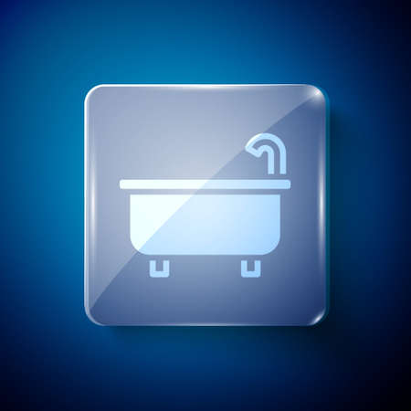 White Bathtub icon isolated on blue background. Square glass panels. Vector 矢量图像