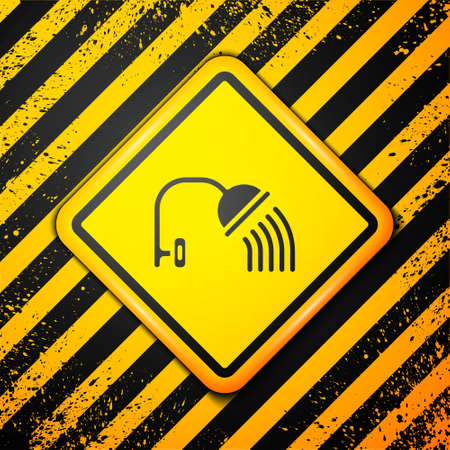 Black Shower head with water drops flowing icon isolated on yellow background. Warning sign. Vector