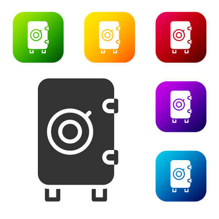 Black Safe icon isolated on white background. The door safe a bank vault with a combination lock. Reliable Data Protection. Set icons in color square buttons. Vector 矢量图像