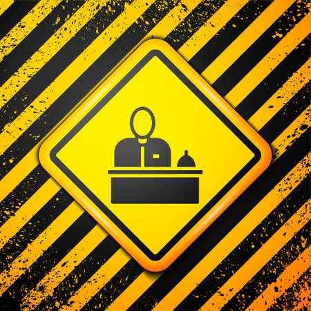 Black Receptionist standing at hotel reception desk icon isolated on yellow background. Warning sign. Vector