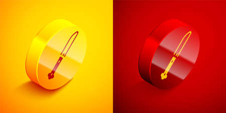 Isometric Knife icon isolated on orange and red background. Cutlery symbol. Circle button. Vector