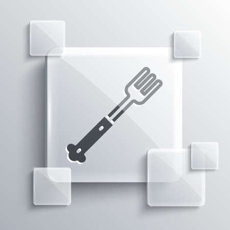 Grey Fork icon isolated on grey background. Cutlery symbol. Square glass panels. Vector 矢量图像