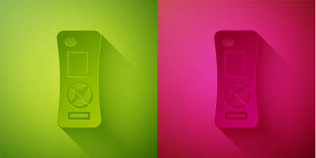 Paper cut Remote control icon isolated on green and pink background. Paper art style. Vector 矢量图像