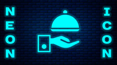 Glowing neon Covered with a tray of food icon isolated on brick wall background. Tray and lid sign. Restaurant cloche with lid. Vector