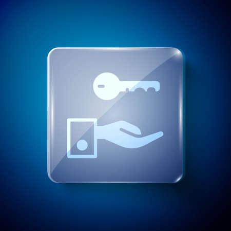 White Hotel door lock key icon isolated on blue background. Square glass panels. Vector 矢量图像