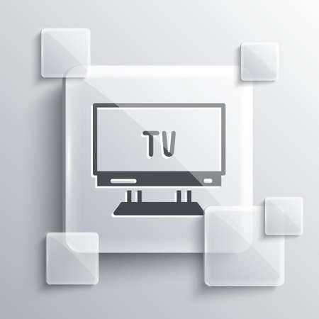 Grey Smart Tv icon isolated on grey background. Television sign. Square glass panels. Vector
