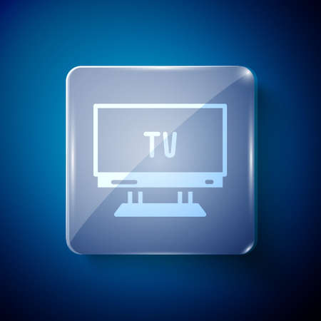White Smart Tv icon isolated on blue background. Television sign. Square glass panels. Vector 矢量图像