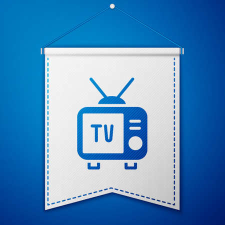Blue Retro tv icon isolated on blue background. Television sign. White pennant template. Vector