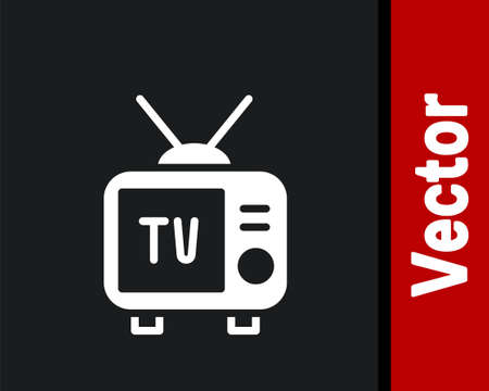 White Retro tv icon isolated on black background. Television sign. Vector 向量圖像