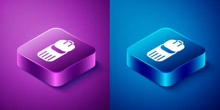 Isometric Trash can icon isolated on blue and purple background. Garbage bin sign. Recycle basket icon. Office trash icon. Square button. Vector