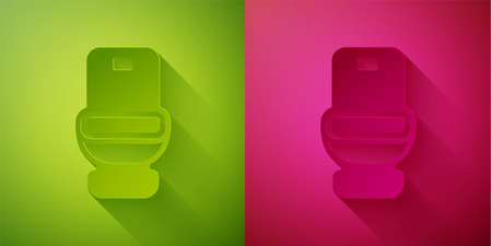 Paper cut Toilet bowl icon isolated on green and pink background. Paper art style. Vector 向量圖像