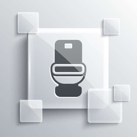 Grey Toilet bowl icon isolated on grey background. Square glass panels. Vector