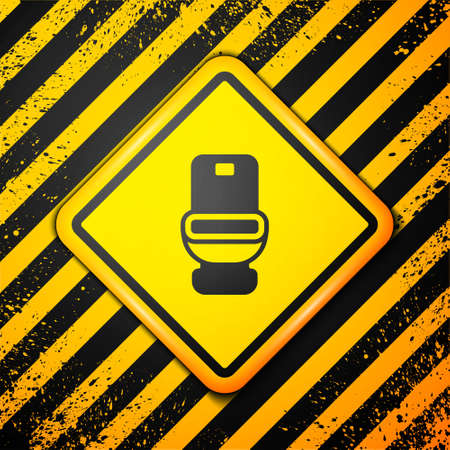 Black Toilet bowl icon isolated on yellow background. Warning sign. Vector Stok Fotoğraf - 157388180