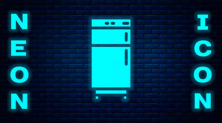 Glowing neon Refrigerator icon isolated on brick wall background. Fridge freezer refrigerator. Household tech and appliances. Vector 矢量图像