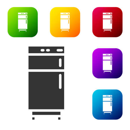 Black Refrigerator icon isolated on white background. Fridge freezer refrigerator. Household tech and appliances. Set icons in color square buttons. Vector 矢量图像