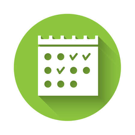 White Hotel booking calendar icon isolated with long shadow. Green circle button. Vector