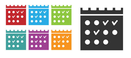 Black Hotel booking calendar icon isolated on white background. Set icons colorful. Vector
