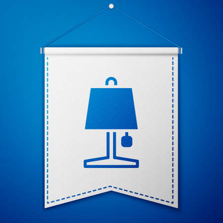 Blue Table lamp icon isolated on blue background. White pennant template. Vector 矢量图像