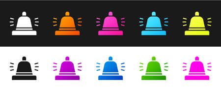 Set Hotel service bell icon isolated on black and white background. Reception bell. Vector