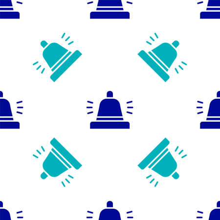 Blue Hotel service bell icon isolated seamless pattern on white background. Reception bell. Vector