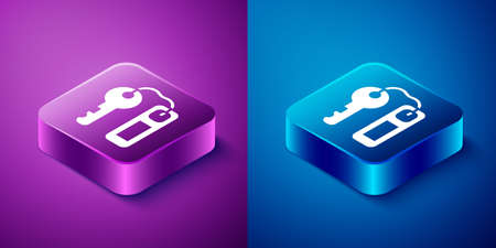 Isometric Hotel door lock key with number tag icon isolated on blue and purple background. Square button. Vector 向量圖像