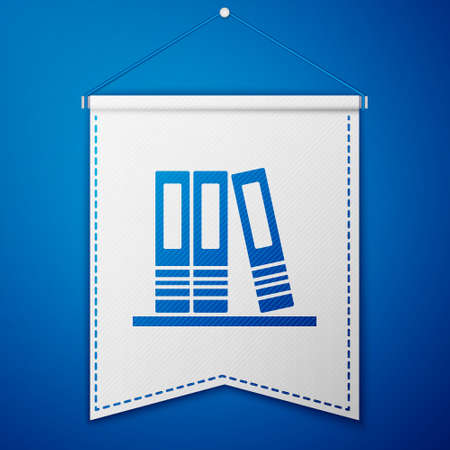 Blue Office folders with papers and documents icon isolated on blue background. Office binders. Archives folder sign. White pennant template. Vector