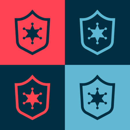 Pop art Police badge icon isolated on color background. Sheriff badge sign. Vector 矢量图像
